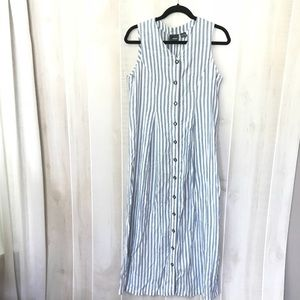 Liz wear blue & white stripe button front dress